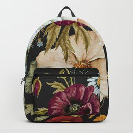 Colorful Wildflower Bouquet on Charcoal Black Backpack