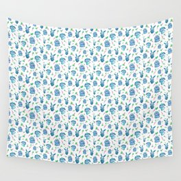 Blue Bunny Pattern Wall Tapestry