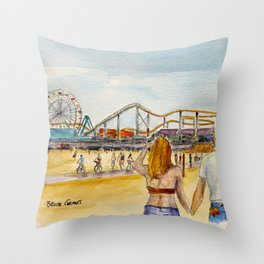 Santa Monica Pier Ferriswheel Throw Pillow