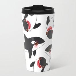 Cartoon grampus orca, killer whale, sea wolf Kawaii Travel Mug