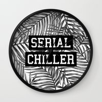tupac Wall Clocks featuring Serial Chiller by Text Guy