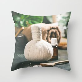 SPA composition with tropical leaf on grey stone background Throw Pillow
