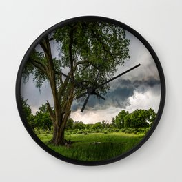 Big Tree - Tall Cottonwood and Passing Storm in Texas Wall Clock