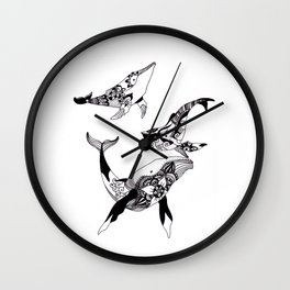 Whale Family Ink Pattern Wall Clock