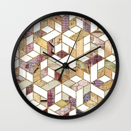 Aged distressed wood grain and gold geometric pattern Wall Clock