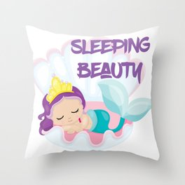 Our little Mermaid the sleeping beauty Throw Pillow