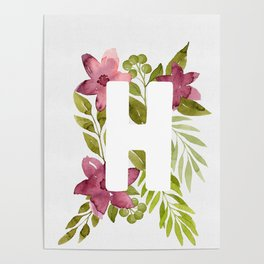 Monogram H with red watercolor flowers and leaves. Floral letter H Poster