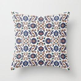 Iznik Pattern Red Blue White Throw Pillow
