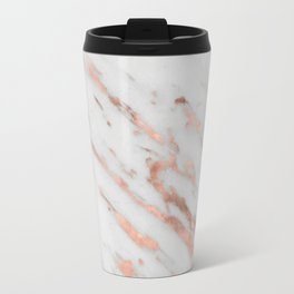 Marble - Rose Gold Marble with White Gold Foil Pattern Travel Mug