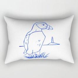 Atlantic Puffin Watercolor Line Drawing Rectangular Pillow