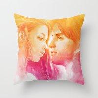 valentine Throw Pillows featuring Valentine by Aurora Wienhold