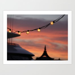 String Lights at Sunset Art Print