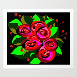 A Bouquet or Roses with a Black Background Art Print