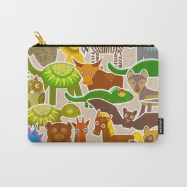 collection Funny cartoon Animals seamless pattern on beige background. Vector Carry-All Pouch