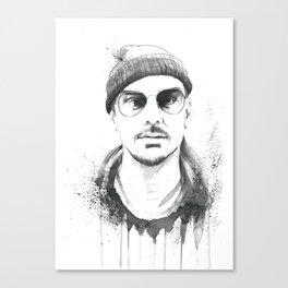 Shannon Leto Watercolor Black & White Canvas Print