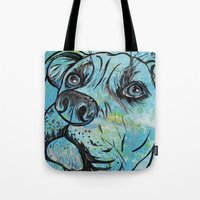 pit bull Tote Bags featuring Blue Pit Bull Dog by WOOF Factory