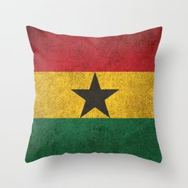 Old and Worn Distressed Vintage Flag of Ghana Throw Pillow