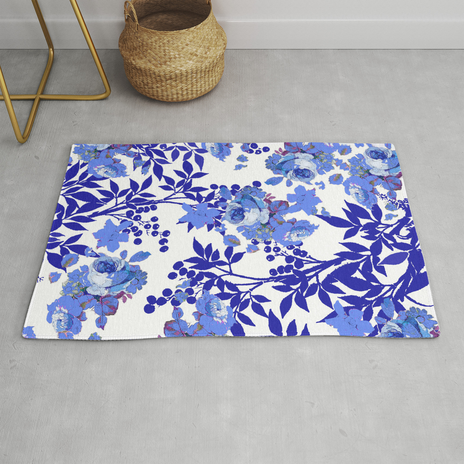 White Rose Leaf Toile Pattern Rug