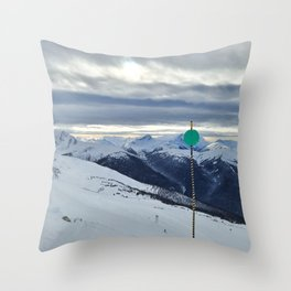 Green ski run sign with a view Throw Pillow