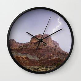 Desert Mountain Lighting Strike Wall Clock