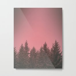 Frosty pine trees in pink Metal Print
