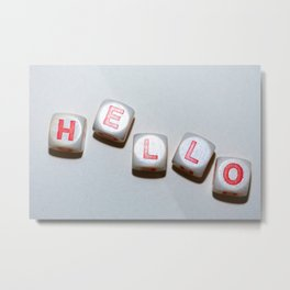 dice with letters make up the word smile Metal Print