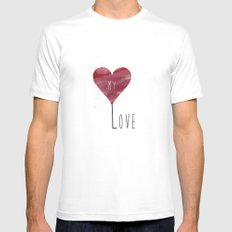 MY LOVE White Mens Fitted Tee MEDIUM