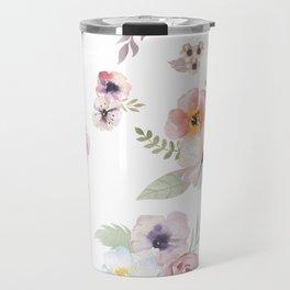 Floral I - White Travel Mug