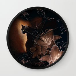 Black Kitty Halloween Wall Clock