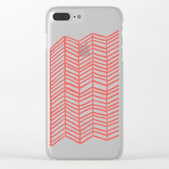 Coral Herringbone Clear iPhone Case
