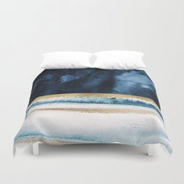 Navy Blue, Gold And White Abstract Watercolor Art Duvet Cover