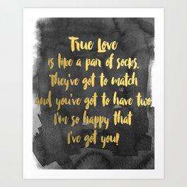 True Love. Gold Foil and Black. Art Print