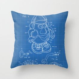 Mr Potato Head Patent - Potato Head Art - Blueprint Throw Pillow