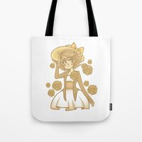 dangan ronpa Tote Bags featuring Sunflowers by bitterkiwi