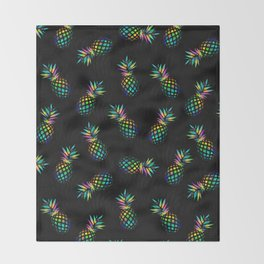 Iridescent pineapples Throw Blanket