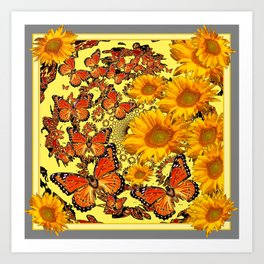 Butterfly & Sunflower Yellow Nature Patterns Art Print