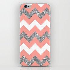 coral glitter chevron iPhone & iPod Skin