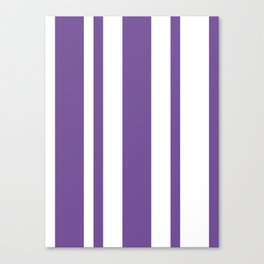 Mixed Vertical Stripes - White and Dark Lavender Violet Canvas Print