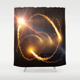Flying Comets and light rays, digital art Shower Curtain