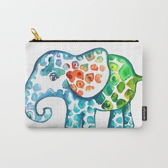 Rainbow Elephant Carry-All Pouch