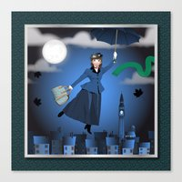mary poppins Canvas Prints featuring Mary Poppins by Vannina
