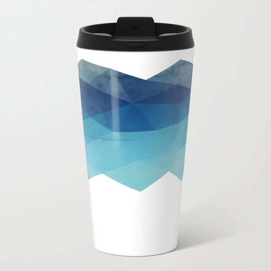 Fractal blue geometry Metal Travel Mug