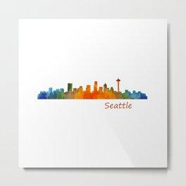 Seattle Washington City Watercolor Skyline Hq v1 Metal Print