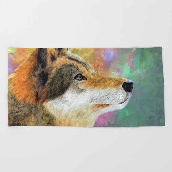 Abstract Wolf Painting Beach Towel