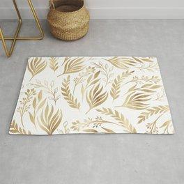 Classy Gold Foliage Botanical White Design Rug