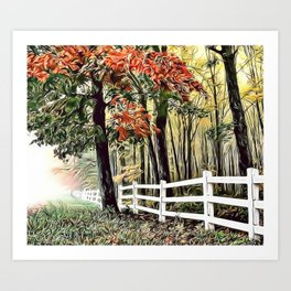 Picket Fence Airbrush Artwork Art Print
