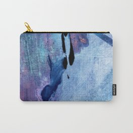 Pull: an abstract mixed media piece in blues, purple, black, and white Carry-All Pouch