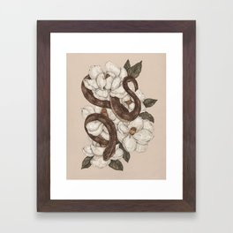 Snake and Magnolias Framed Art Print