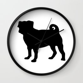 Simple Pug Silhouette Wall Clock