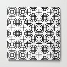 Black and White Geometric Lattice Metal Print